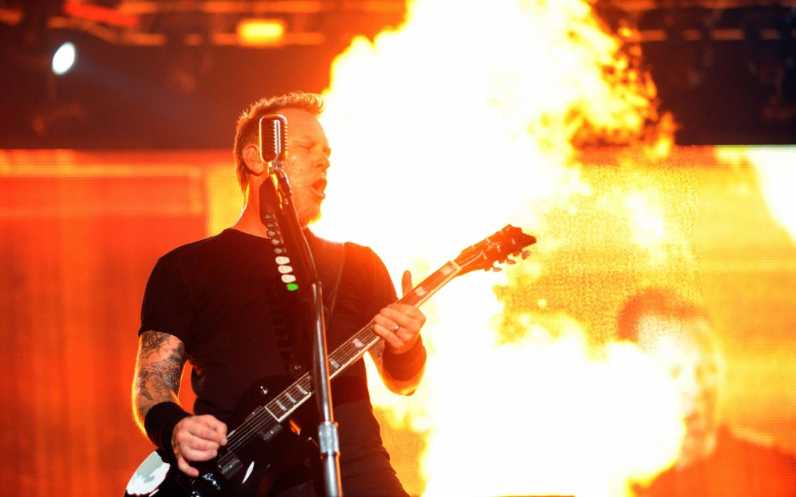 metallica bands groups music entertainment heavy metal hard rock thrash concert guitars fire flames wallpaper