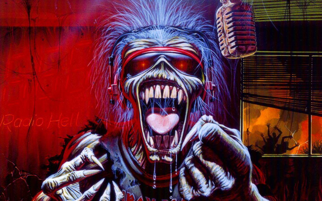 iron maiden bands groups entertainment hard rock heavy metal eddie album art dark skulls covers wallpaper