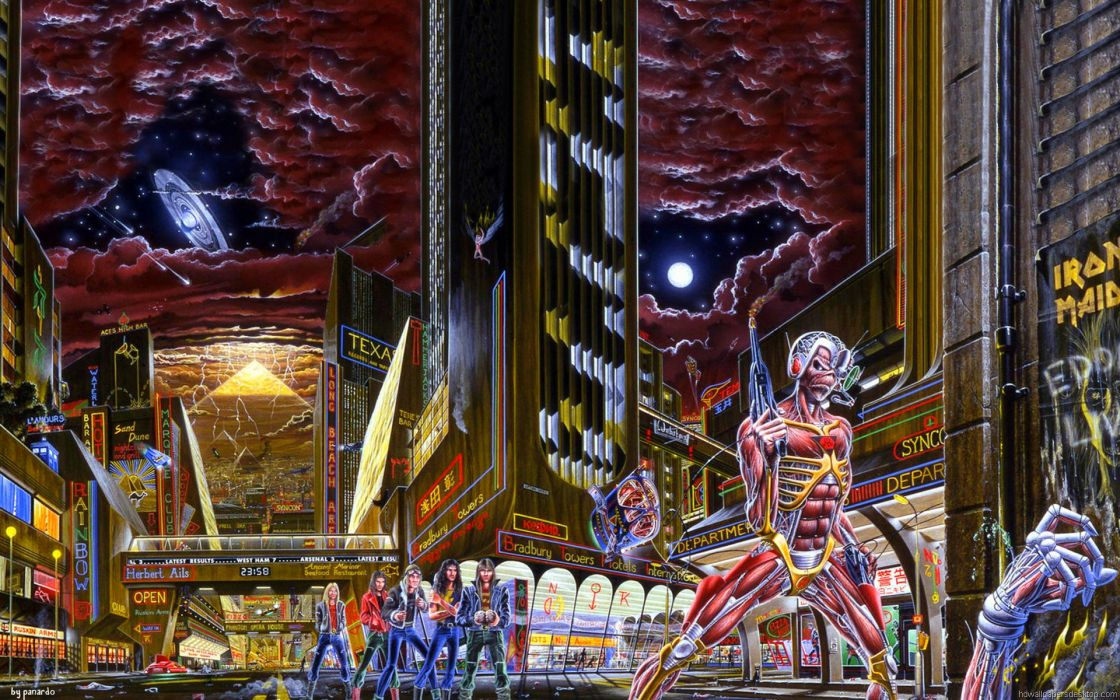 iron maiden bands groups entertainment hard rock heavy metal eddie album covers art skulls dark wallpaper