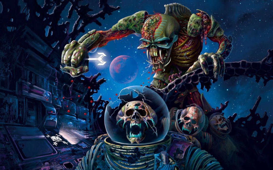 iron maiden bands groups entertainment hard rock heavy metal eddie album covers art skulls dark wallpaper