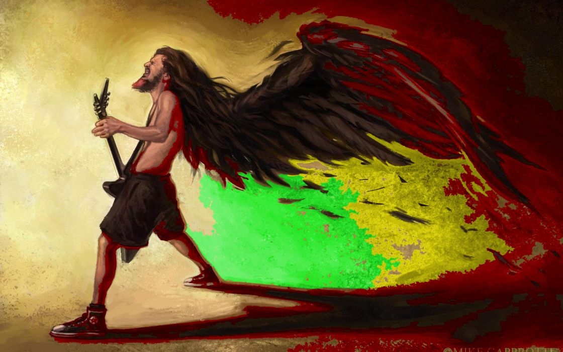 pantera groups bands thrash heavy metal hard rock dimebag angels guitars wings feather fantasy wallpaper