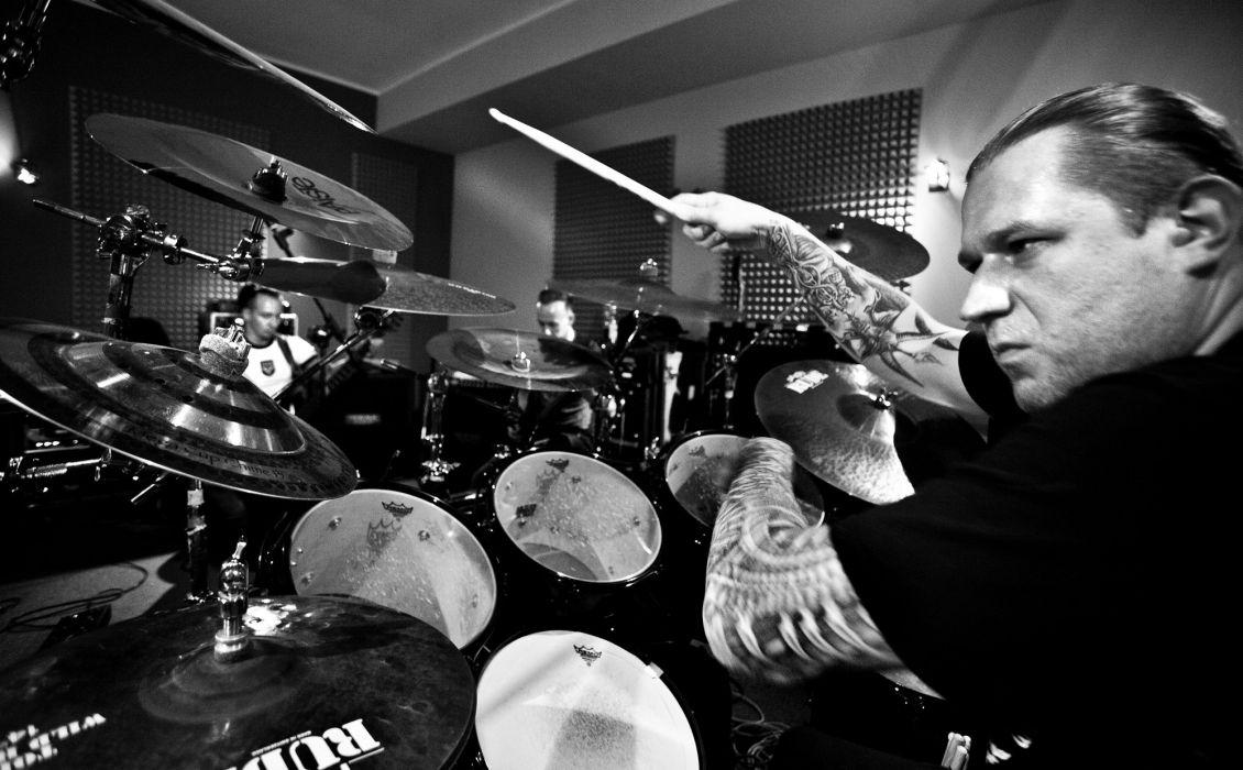 Behemoth black metal heavy hard rock entertainment music bands groups drums wallpaper