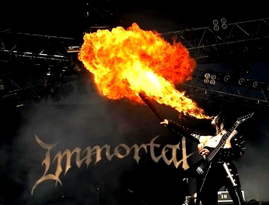 Immortal black metal heavy groups bands hard rock concerts guitars fire flames wallpaper