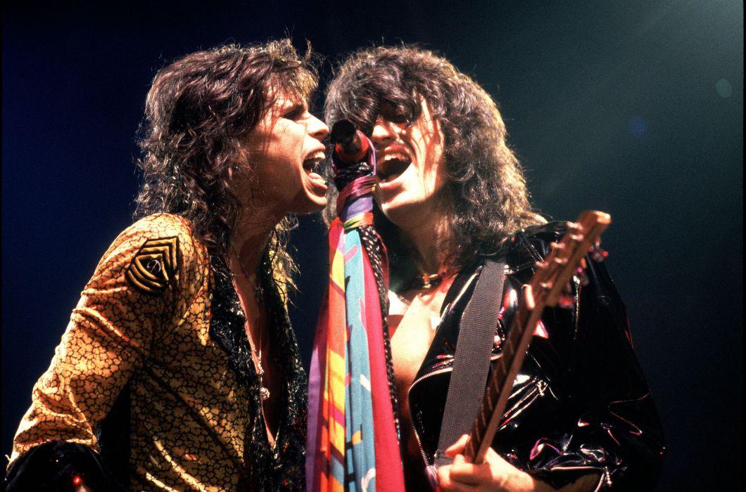 Aerosmith hard rock bands groups classic joe perry steven tyler concerts guitars microphone wallpaper