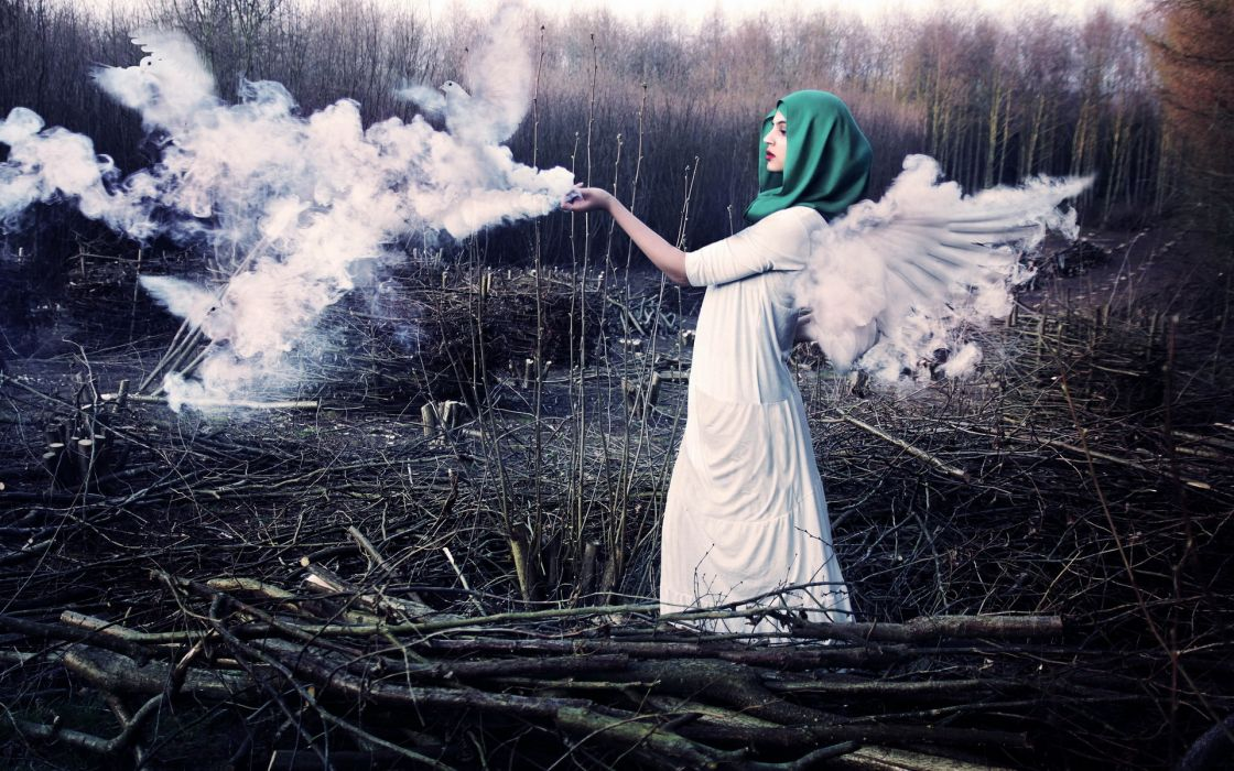 manipulation smoke animals birds doves cg digital landscapes nature fields wood trees forest clearing angels wings fantasy dress gown scarf women females girls mood emotion wallpaper