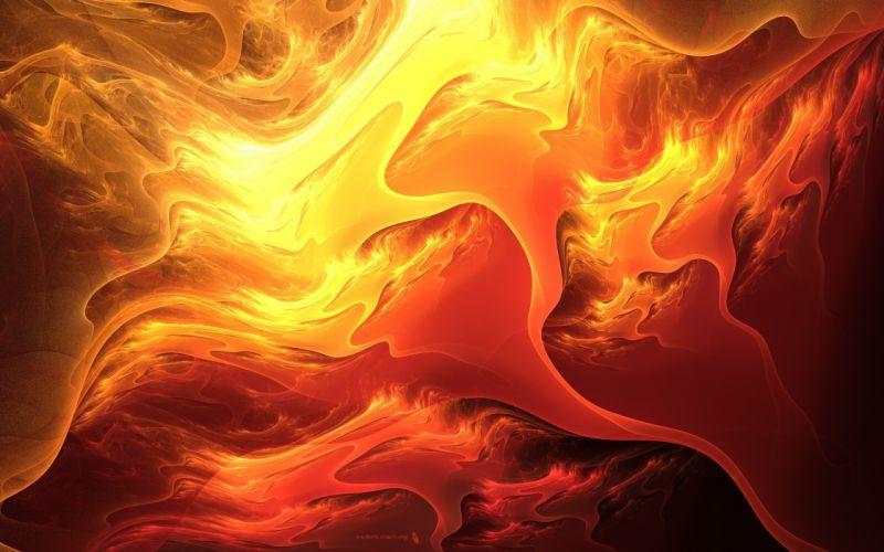 abstract orange colors bright painting art cg digital waves shades orange yellow fire flames wallpaper