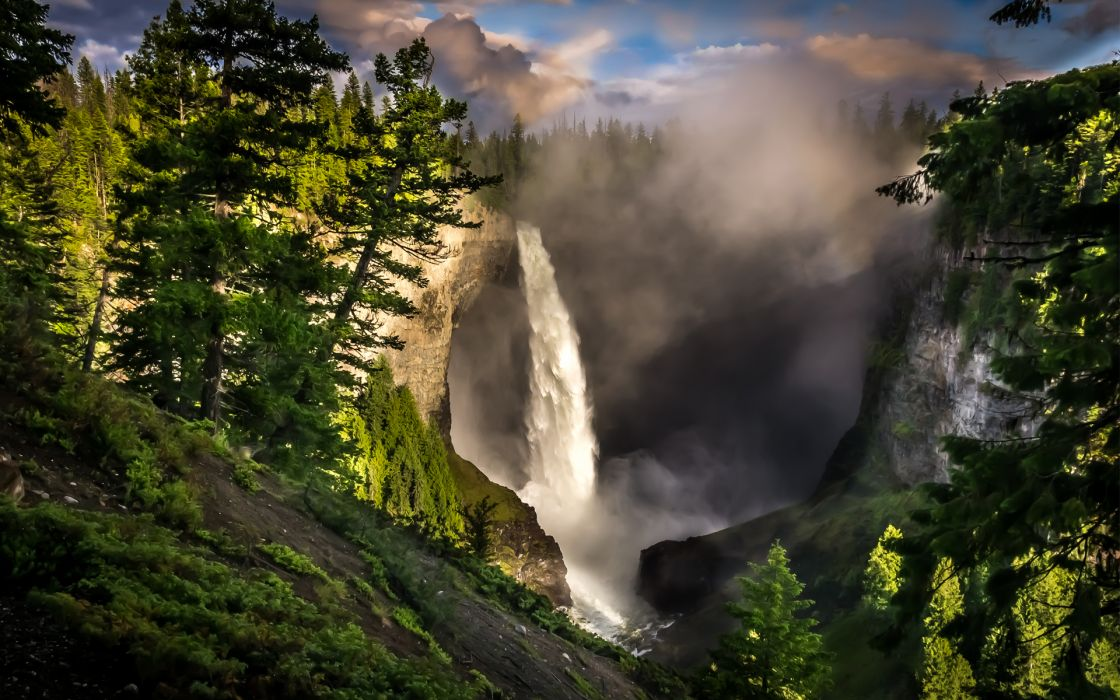 nature landscapes waterfalls trees forests spray haze fog mist rivers mountains sky clouds scenic green rocks view foam wallpaper