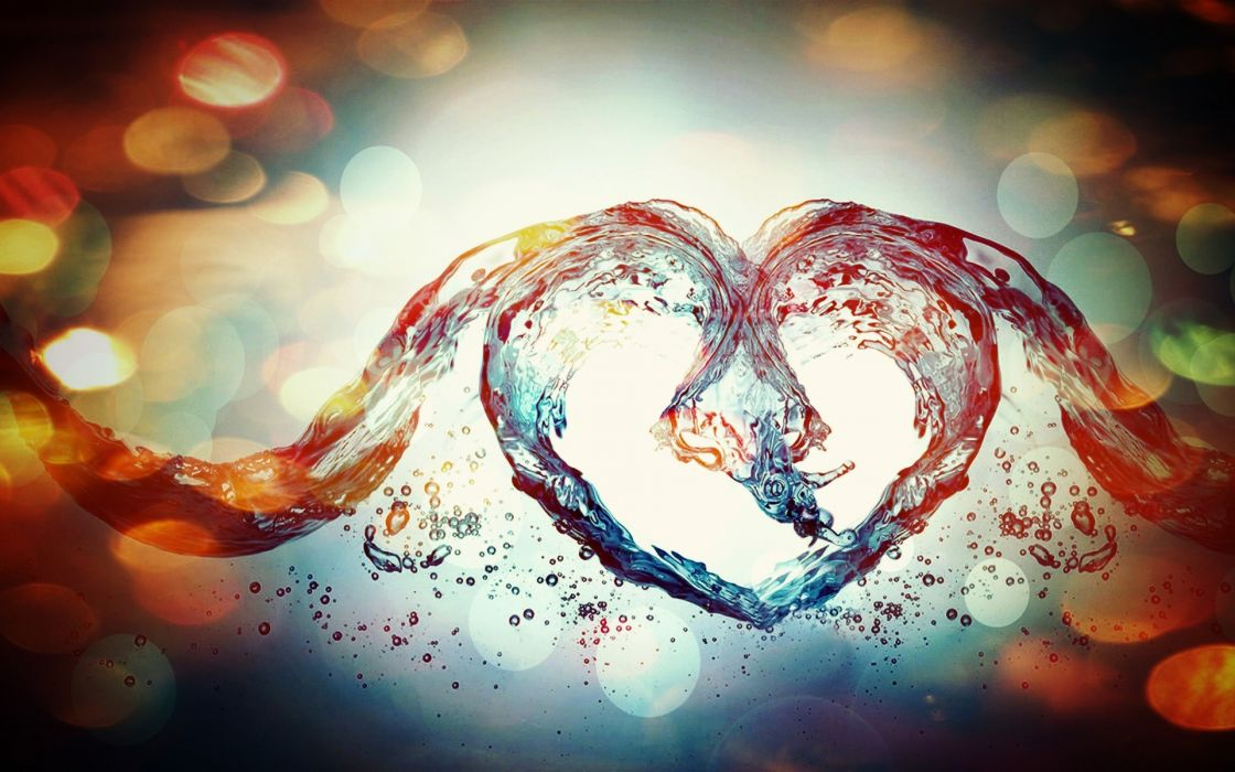 abstract water heart sparkle bubbles waves liquidvalentines holidays love romance wallpaper