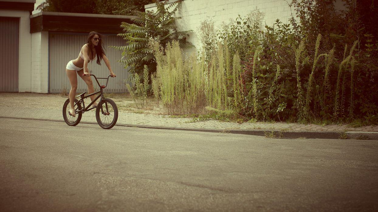 sports bmx bicycles wheels roads plants bush women females girls legs brunette babes sexy sensual models wallpaper