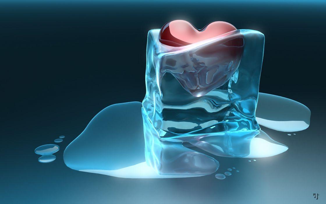 3d cg digital art artistic mood emotion love romance valentine heart ice humor funny water liquid wallpaper