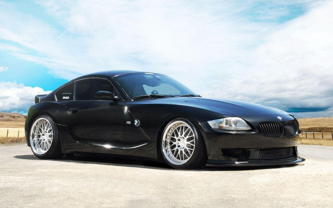 IND BMW Z4 vehicles cars tuning black wheels rims stance lights sky clouds roads landscapes desert wallpaper