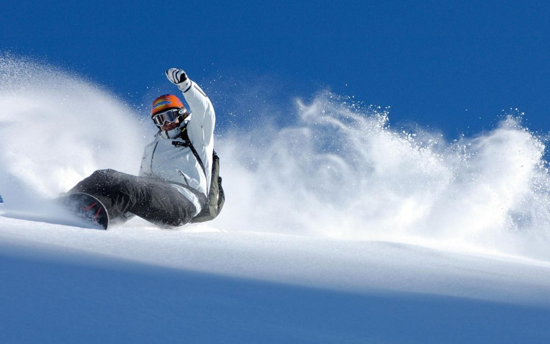 sports snowboarding extreme snow mountains landscapes nature white powder tail sky people winter seasons motion action wallpaper