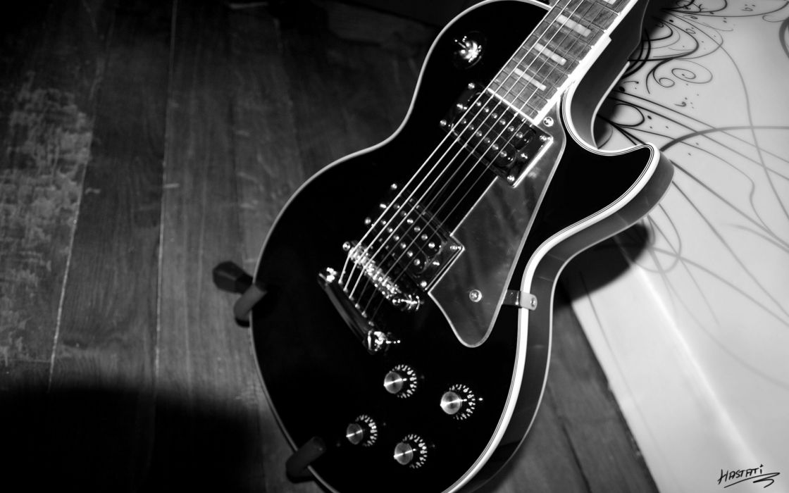 music gibson les paul guitars musical instruments black white abstract art bridge strings knobs tech mech wallpaper