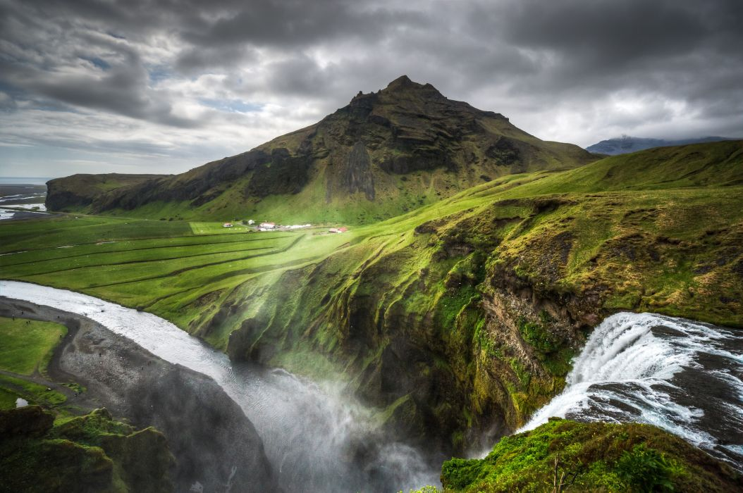 Iceland nature landscapes hills mountains waterfalls grass rocks water rivers fog mist haze spray canyon sky clouds hdr scenic view drops plants wallpaper