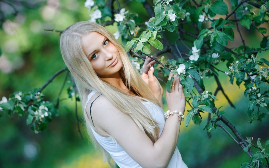 women females girls blondes face model sensual flowers blossoms pose wallpaper