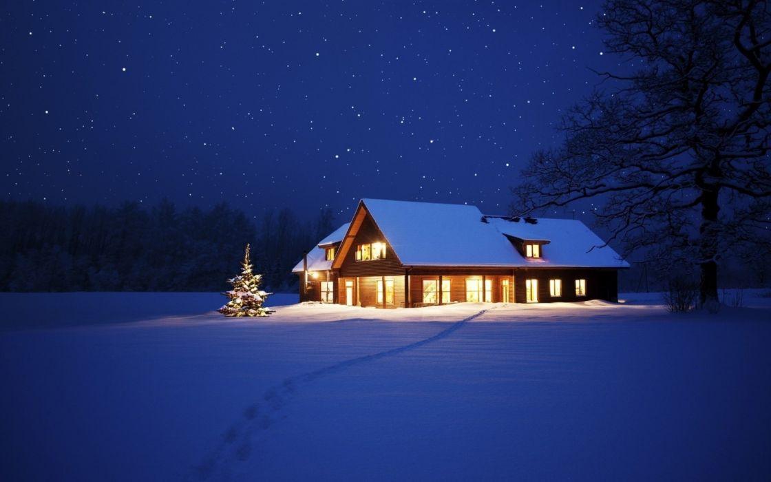 holidays christmas seasonal winter snow night lights seasons seasonal stars nature sky trees tracks path wallpaper