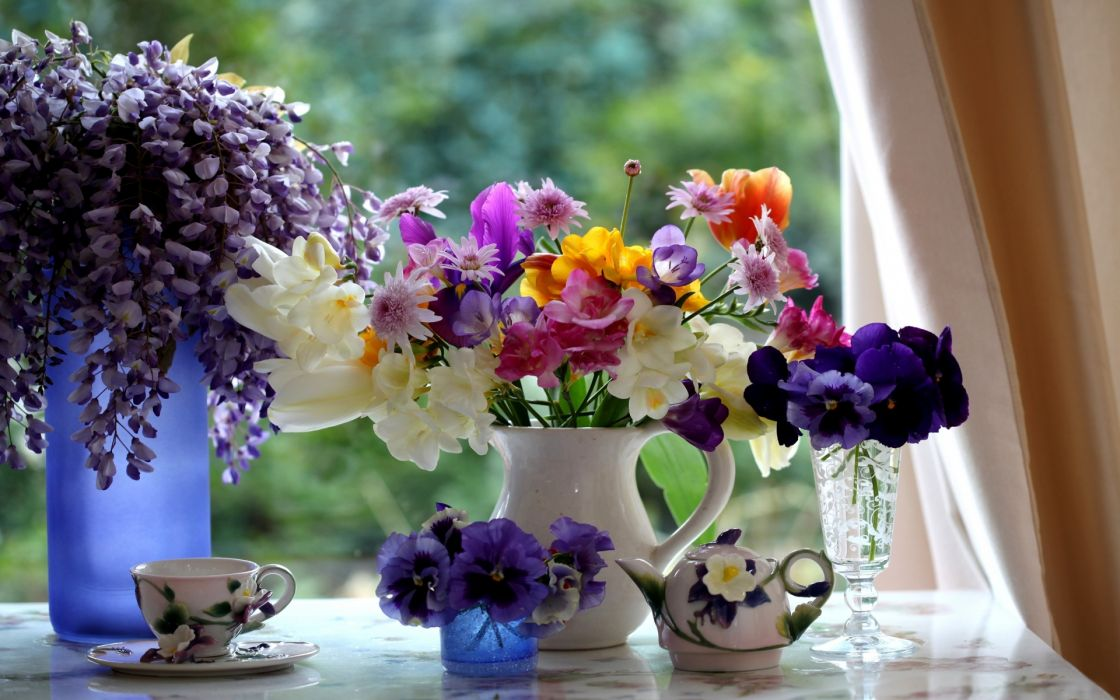 still life flowers color vase cup bowl table window glass trees curtains photography plants setting wallpaper
