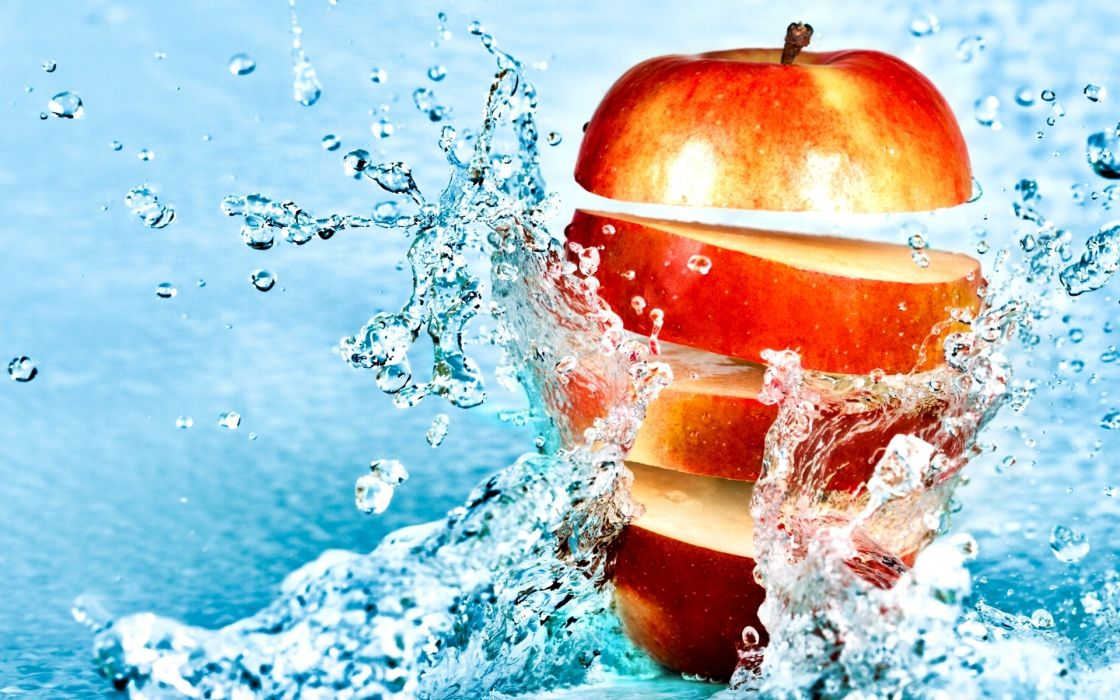food apples fruit water splash drops stop motion photography bright color wallpaper