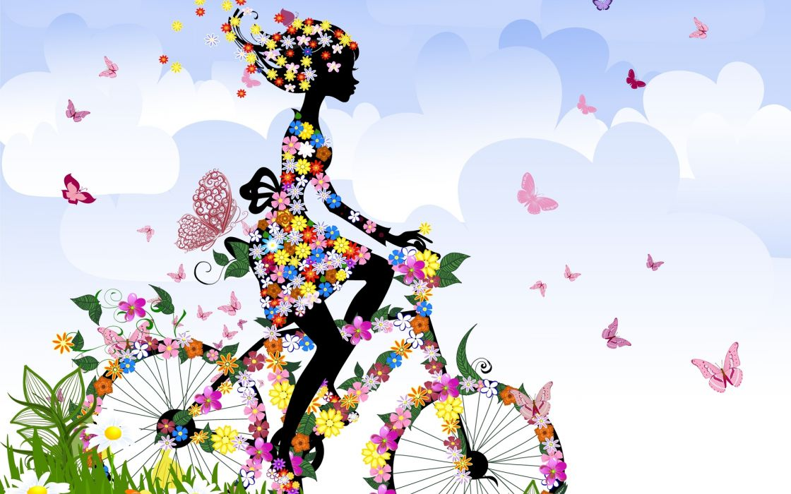 anime cartoon vector abstract art vehicles bicycle riding motion legs women females girls style color flowers insects butterfly sky clouds spring seasons wallpaper