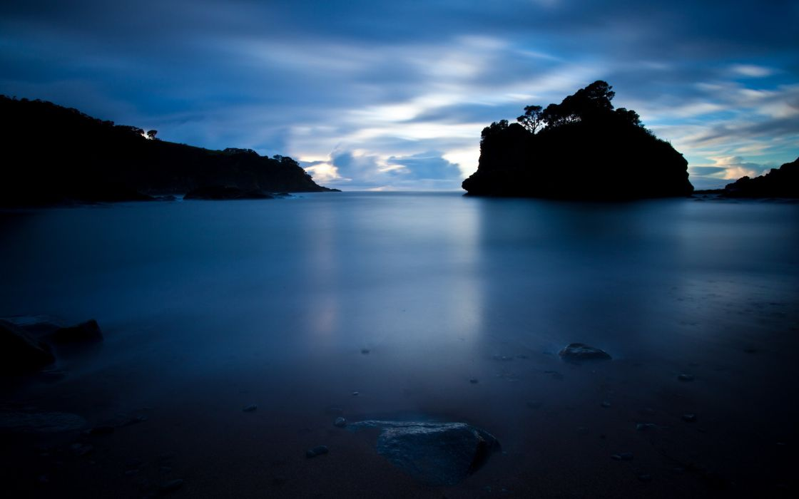 nature seascape oceans sea water smooth reflection rocks islands landscapes sky clouds trees timelapse silhouette scenic view sunset sunrise light wallpaper