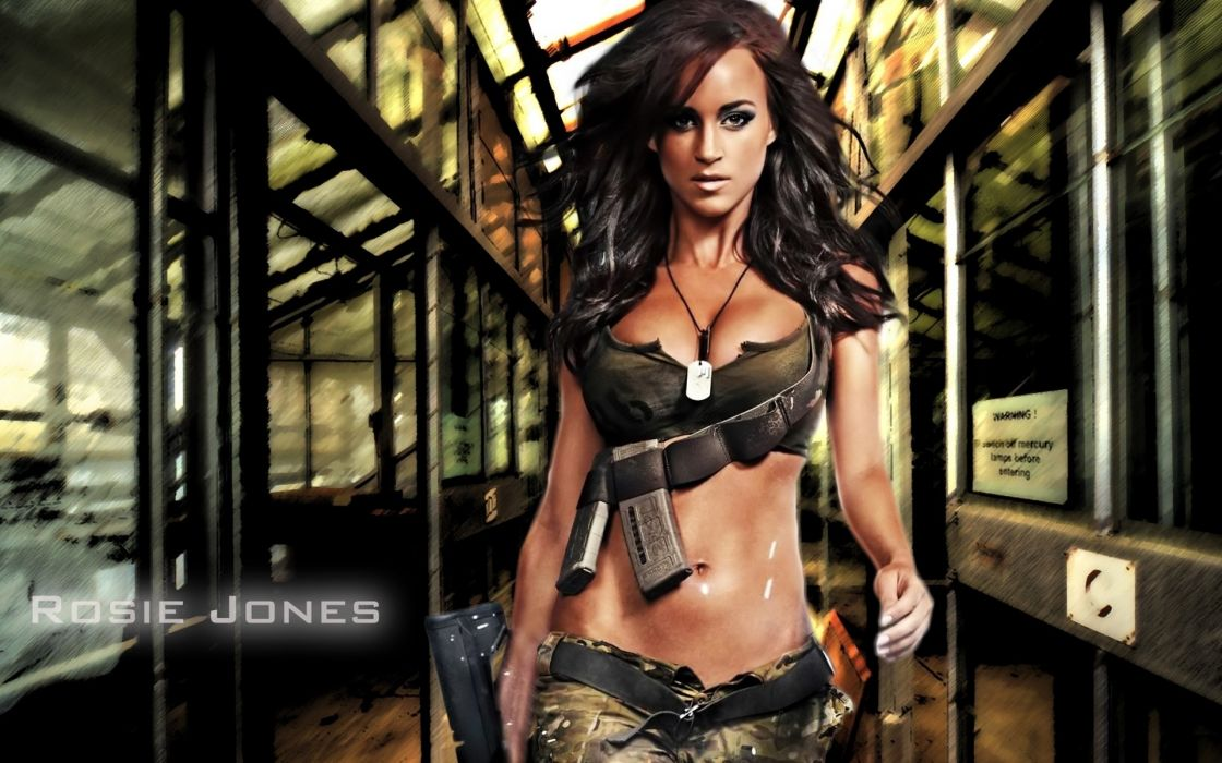 rosie jones women females girls babes sexy sensual models style fashion brunettes military boobs cleavage stomach face weapons guns pistol train subway wallpaper