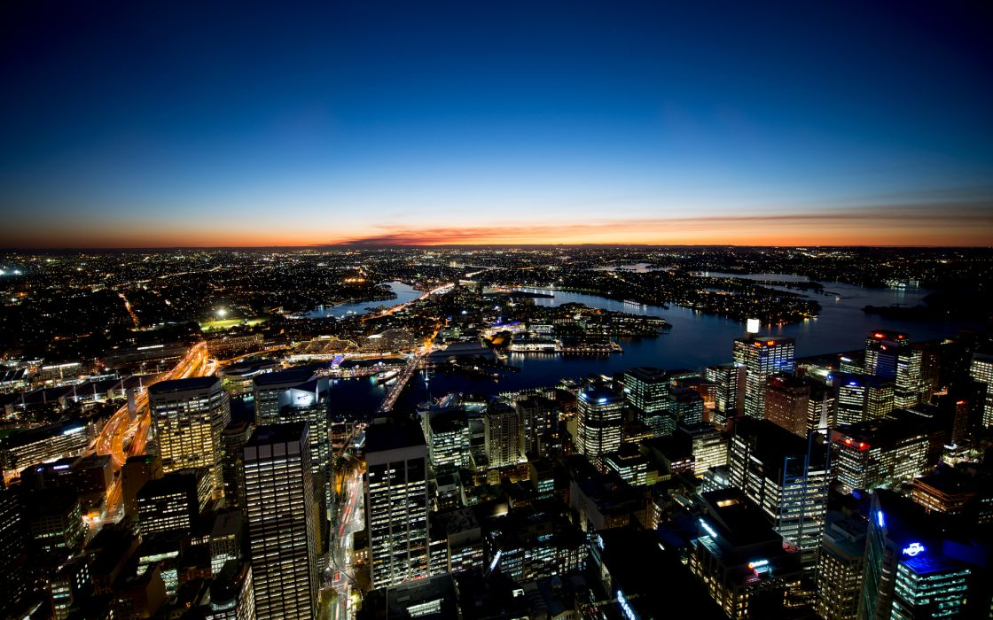 australia Sydney skyline cityscape cities architecture buildings skyscrapers night lights hdr rivers sky sunset sunrise color scenic view wallpaper