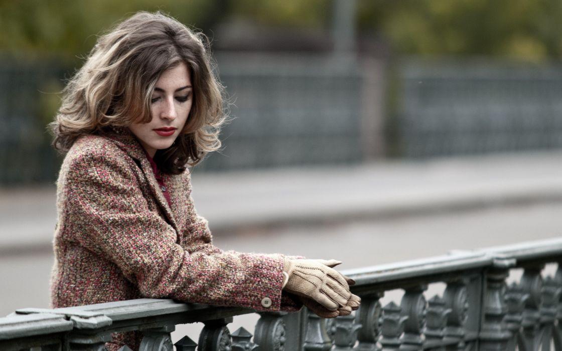 women females girls models brunettes style fashion roads rail mood emotion alone sad sorrow wallpaper