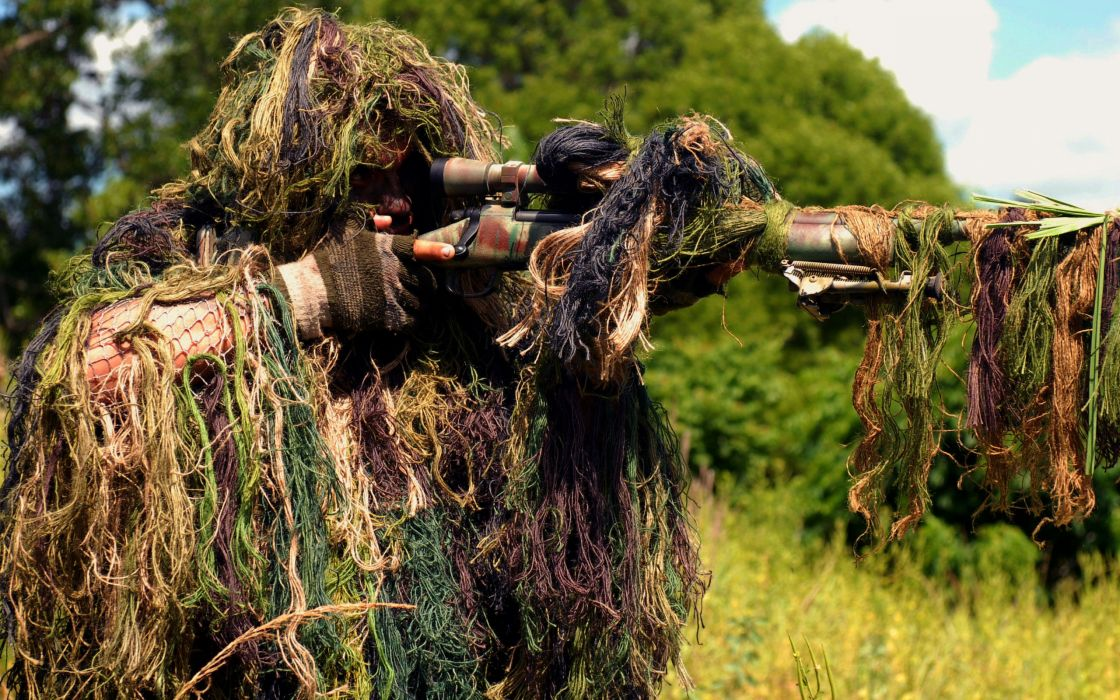 sniper military weapons guns rifles camouflage people fields grass trees shoot eyes assassin warriors soldiers wallpaper