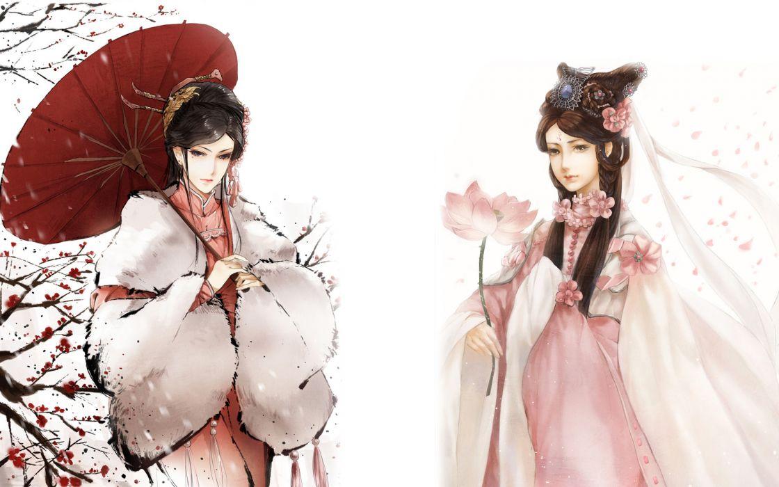 anime original umbrella asian oriental lotus trees blossoms flowers dress gown scarf soft art women females girls babes style fantasy brunettes mood wallpaper