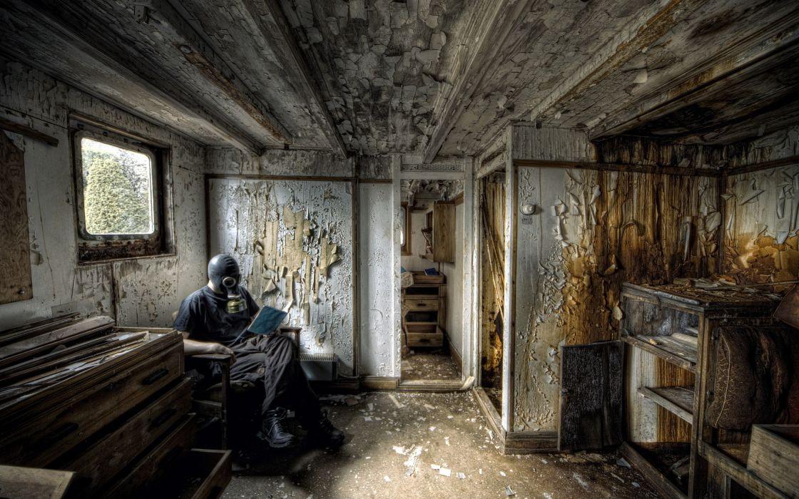 Gas mask post apocalyptic apocalypse decay ruins room rust