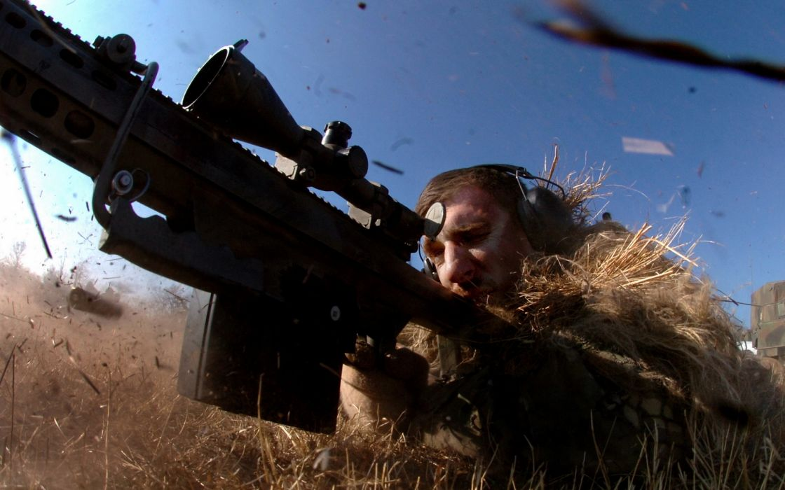 sniper military weapons guns rifles men males soldiers warriors motion action grass camo wallpaper