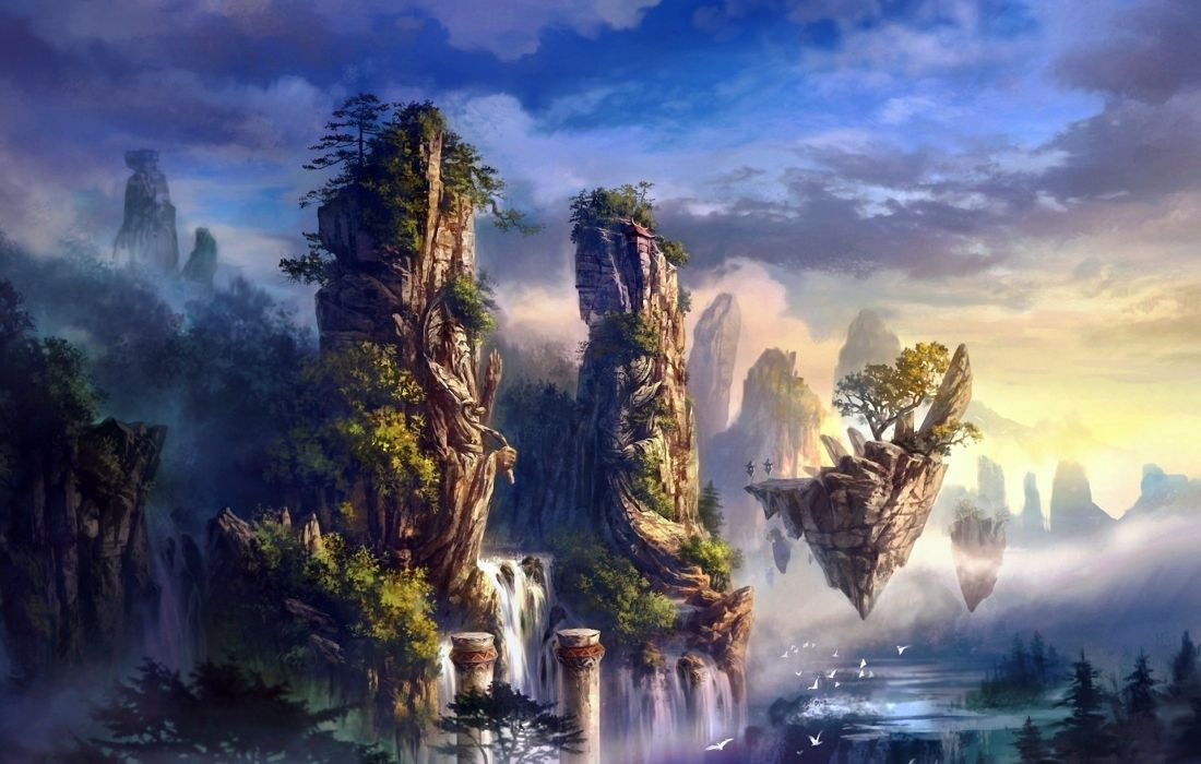 nature landscapes fantasy art paintings trees forest jungle magic waterfall rivers animals birds scenic islands surreal sky clouds sunrise sunset fog mist vapor haze mountains architecture column tower mythical mystical soft dream colors cg digital  wallpaper