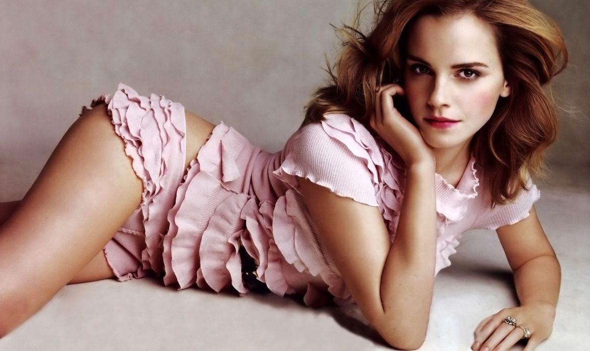 Emma Watson actress harry potter celebrities pose brunette legs face eyes lips pink shorts panties bikini women females girls babes sexy sensual wallpaper