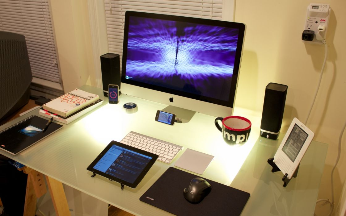 computer apple photography tech mech screen glass cup coffee speakers tablet electric wallpaper
