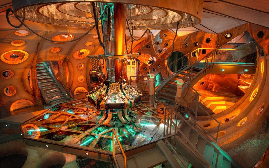 Doctor Who TV Show sci fi science fiction futuristic room fantasy color tech mech controls platform glass bridge wallpaper