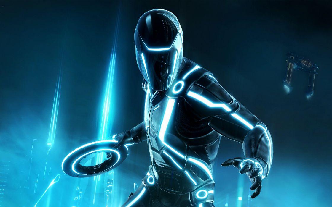 Tron Evolution movies sci fi science fiction suit uniforms armor cyborg people robot blue lights wallpaper