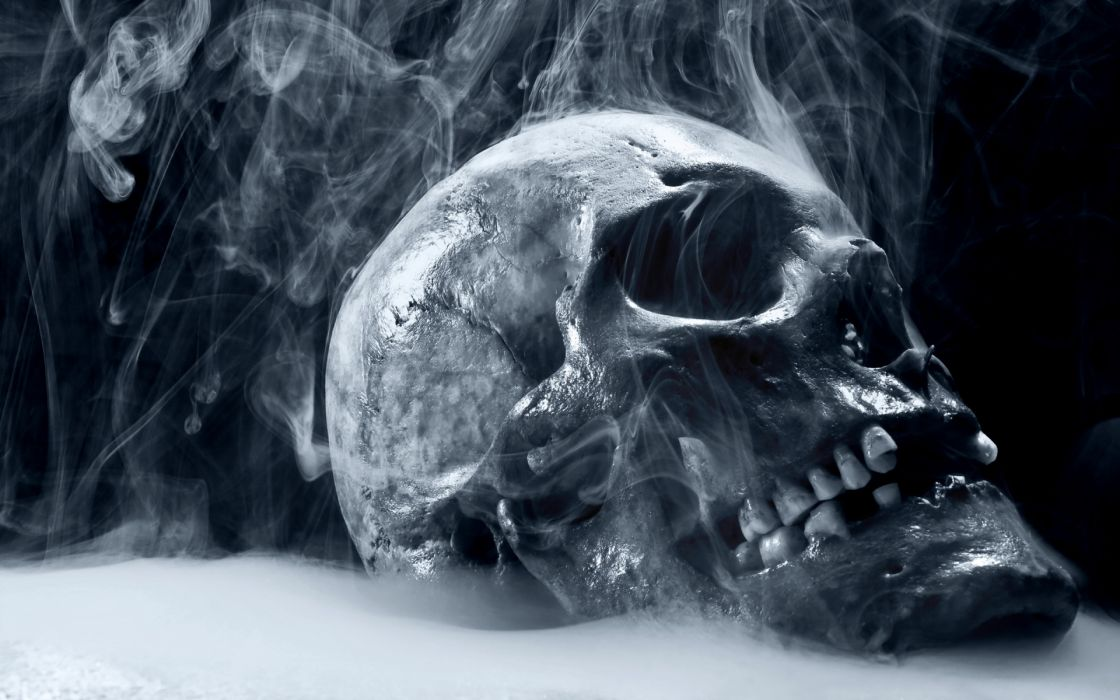 dark skull horror scary creepy spooky evil occult bone teeth eyes steam mist cold frozen cg digital art 3d macabre death reaper wallpaper