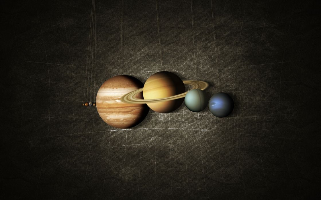 cg digital art sci fi science fiction planets solar system space string humor funny minimal wallpaper
