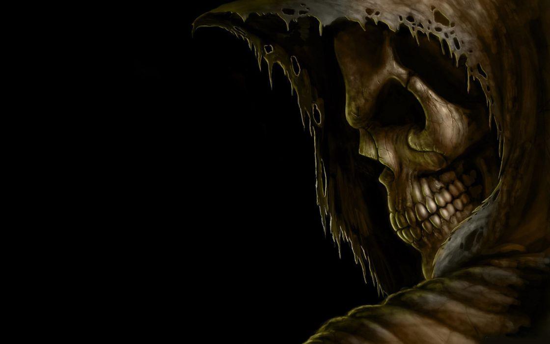 grim reaper death dark skull hood eyes evil scary spooky creepy teeth black halloween wallpaper