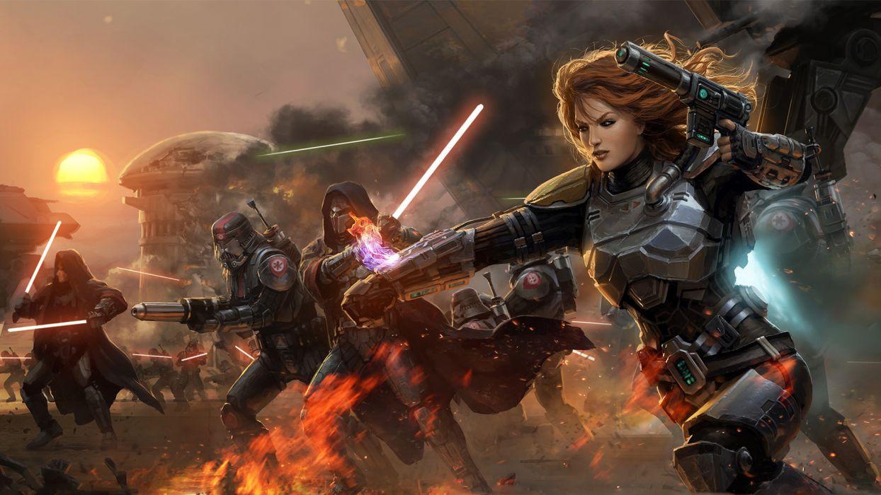 Star Wars Old Republic MMORPG BioWare LucasArts warriors soldiers weapons guns laser lightsaber saber armor war battle fire flmaes alien art color women females girls men males people wallpaper