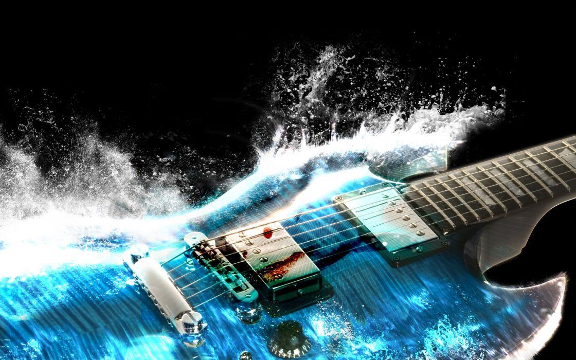 guitars airbrushing paintings cg digital art waves splash drops water 3d bridge psychedelic neck stings detail color bright artistic axe wallpaper