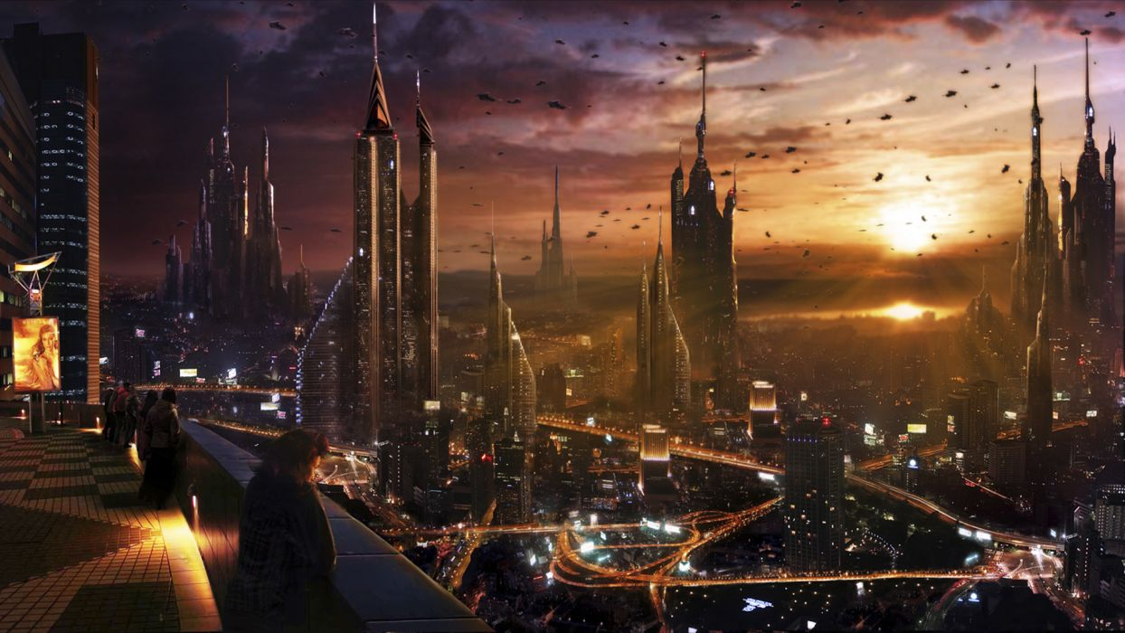 Vladimir Manyuhina cg digital manipulation sci fi science fiction futuristic cities architecture buildings skyscrapers sky clouds sunset vehicles alien detail cars spaceship spacecraft wallpaper
