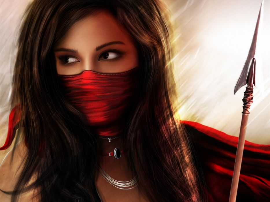 manipulations cg digital art art fantasy warriors spear weapons brunettes face mask eyes jewelry light backlit scarf maiden red colors women females girls babes style look stare wallpaper