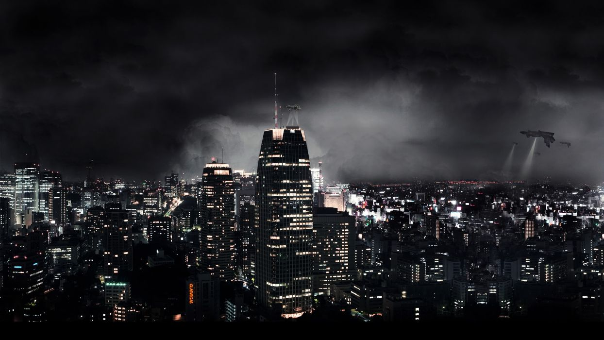 manipulation cg digital art photography architecture cities buildings skyscrapers night lights wondow sky clouds creepy spooky dark invasion aliens futuristic sci fi science fiction apocalyptic spaceship spacecraft ships vehicles horror wallpaper