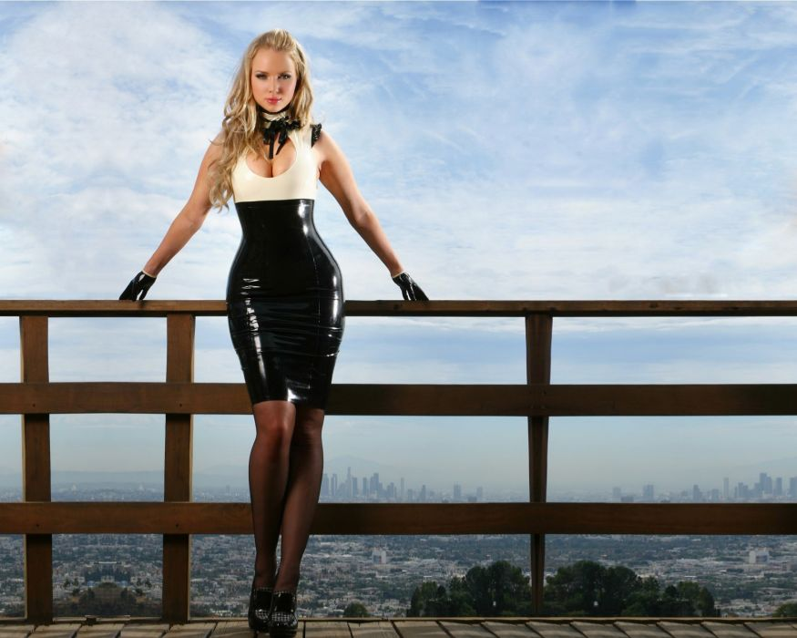 Ancilla Tilia latex dress shine blondes women females girls models style fashion boobs cleavage sexy sensual babes sky clouds pier dock legs pose adult wallpaper