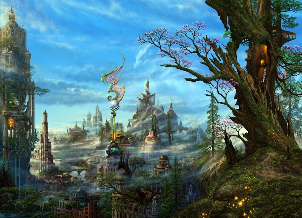 Art ucchiey kazamasa uchio fantasy cg digital art paintings airbrushing anime landscapes colors detail magi dragons cities architecture buildings sky clouds trees fog mist haze steampunk sci fi science fiction wallpaper