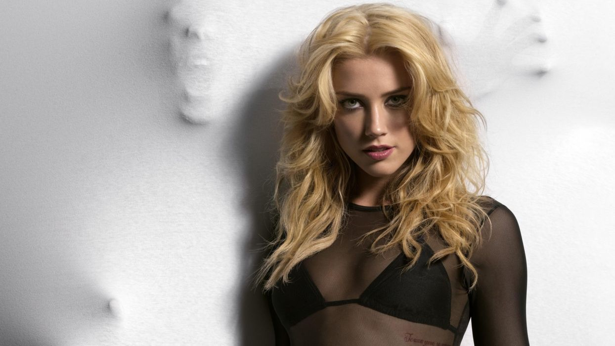 Amber Heard model actress blondes face eyes lips boobs cleavage sheer lace hair scream dark ghost creepy spooky women females girls babes sexy sensual style look stare pov wallpaper