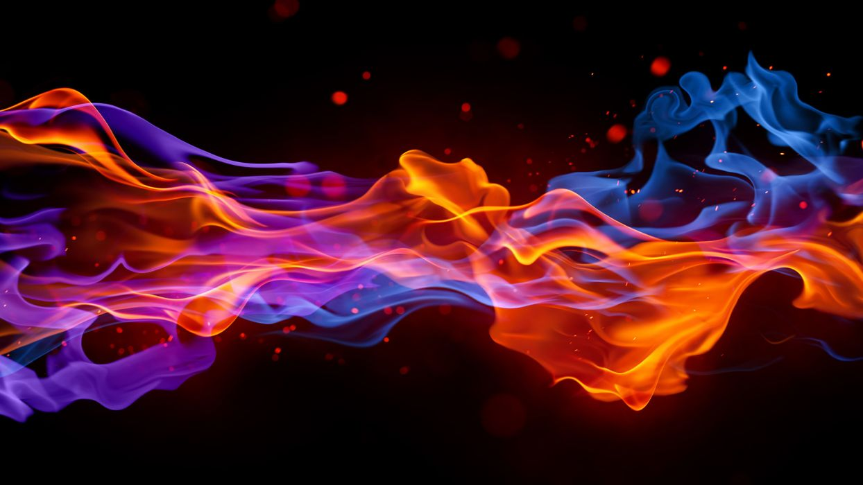 3d cg digital art fire flames colors bright rainbow art artistic motion smoke fog drops wallpaper