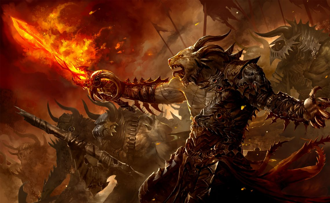 Guild Wars fantasy creatures monsters demons weapons sword spear magic fire flames army warrior soldiers dark scary evil art battle war wallpaper