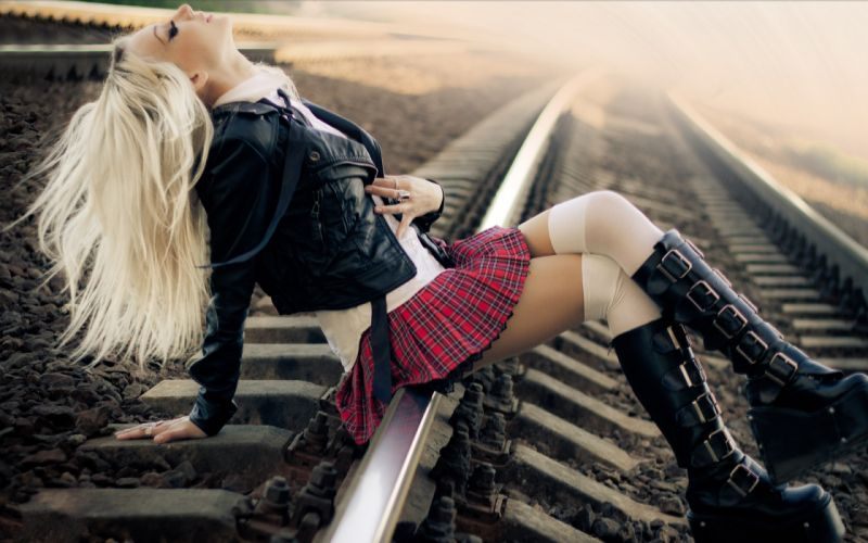 gothic punk blondes min dress skirt legs boots pose hair tracks train railroad boots women females girls babes sexy sensual style emo wallpaper